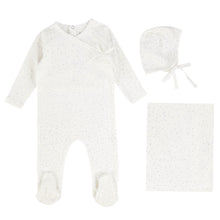 Load image into Gallery viewer, Bee and Dee White with Grey Dust Wrap Layette Set