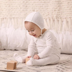 Bee and Dee White with Grey Dust Wrap Layette Set