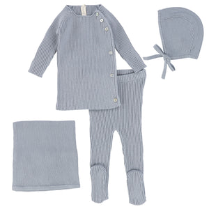 Lilette by Lil Legs Blue Knit 4 piece Layette Set