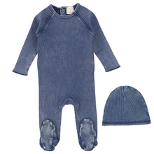 Load image into Gallery viewer, Analogie by Lil Legs Blue Wash Denim Wash Stretchie and Bonnet