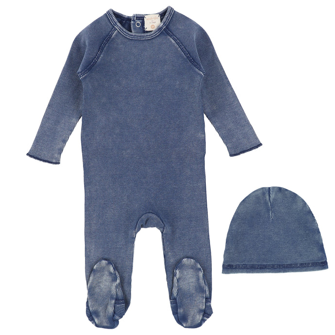 Analogie by Lil Legs Blue Wash Denim Wash Stretchie and Bonnet