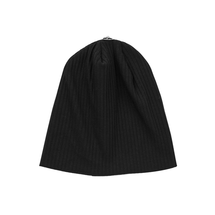 O'BELLE BLACK SNAP ON RIBBED BABY BEANIE