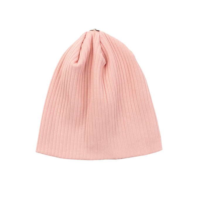 O'BELLE BLUSH PINK SNAP ON RIBBED BABY BEANIE