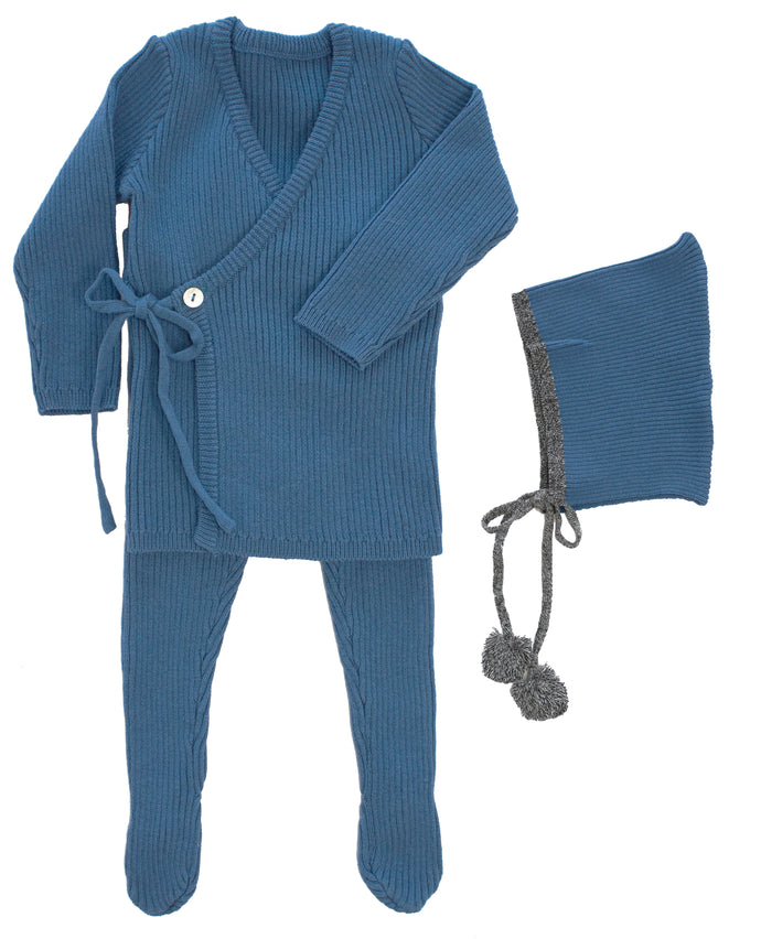 KIPP COLLECTION  BLUE RIBBED KNIT MOCK WRAP SET