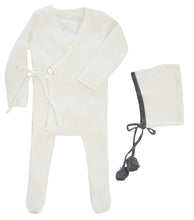 Load image into Gallery viewer, KIPP COLLECTION WINTER WHITE RIBBED KNIT MOCK WRAP SET