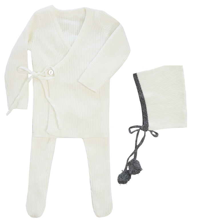 KIPP COLLECTION WINTER WHITE RIBBED KNIT MOCK WRAP SET