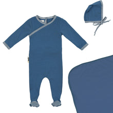 Load image into Gallery viewer, Maniere Denim Blue Gingham Wrap Layette Set