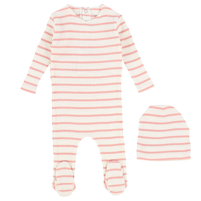 Bee & Dee Ivory/Pink Striped Ribbed Stretchie with Beanie