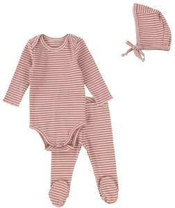 LIL LEGS MULBERRY STRIPED RIBBED BABY SET
