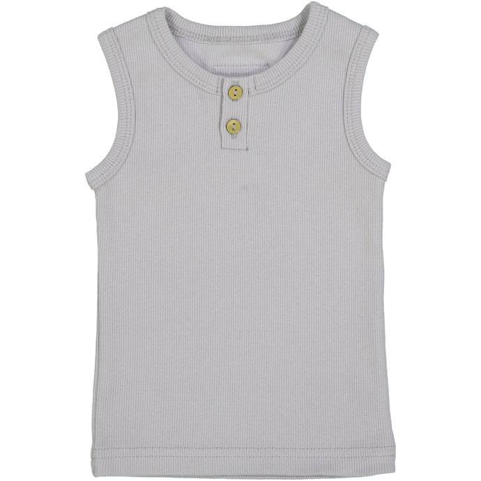LIL LEGS LIGHT GREY RIBBED TANK TOP