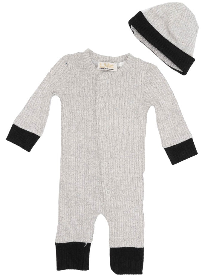 LUX LIGHT GREY MIX KNIT ONESIE WITH HAT