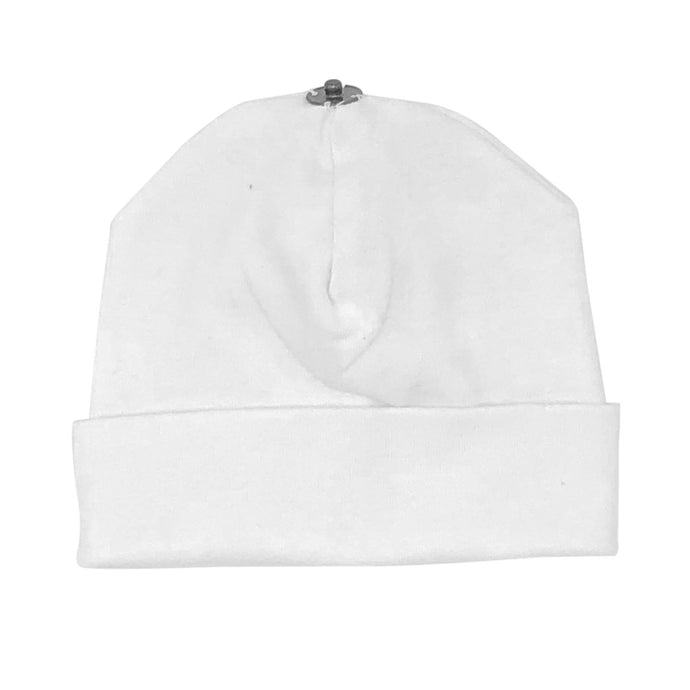 O'BELLE WHITE SNAP ON BABY BEANIE