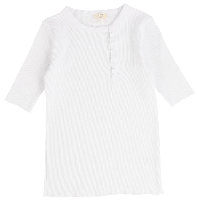 Lil Legs White Sideway Three Quarter Sleeve T-Shirt