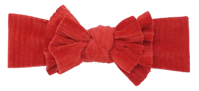 BANDEAU BABY RED RIBBED VELOUR DOUBLE FLOPPY BABY BAND