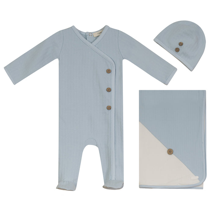 Fragile Blue Ice Button Layette Set