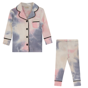 Lux Almond Rose Tie Dye Ribbed Grandpa Pajamas