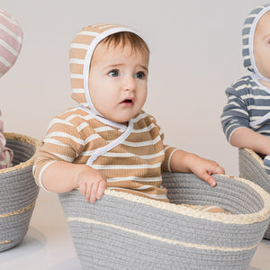 Lux Beige/White Striped Stretchie and Bonnet