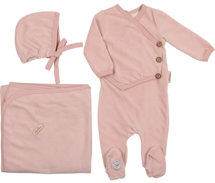 MON TRESOR LIGHT ROSE VICTORIAN WRAP VELOUR LAYETTE SET