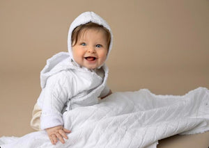 KIN + KIN CREAM RAW EDGED BABY JACKET WITH HAT