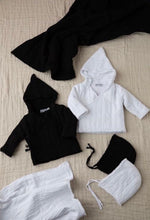 Load image into Gallery viewer, KIN + KIN BLACK RAW EDGED BABY JACKET WITH HAT