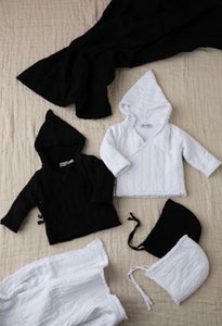 KIN + KIN BLACK RAW EDGED BABY JACKET WITH HAT