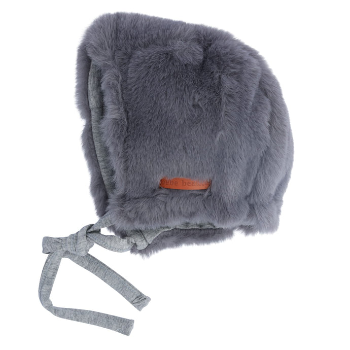 Bebe Beaute Grey Fur Bonnet