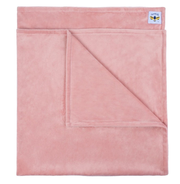 Swaddle Bee Minky Bee Stroller Blanket Dusty Pink