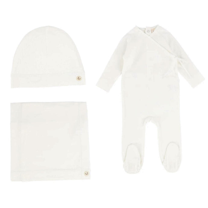 Lilette by Lil Legs White Brushed Cotton Wrapover Layette Set