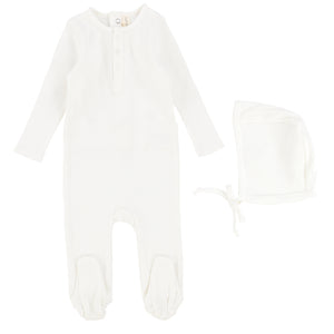 Lilette by Lil Legs White Ribbed Classic Henley Stretchie and Bonnet
