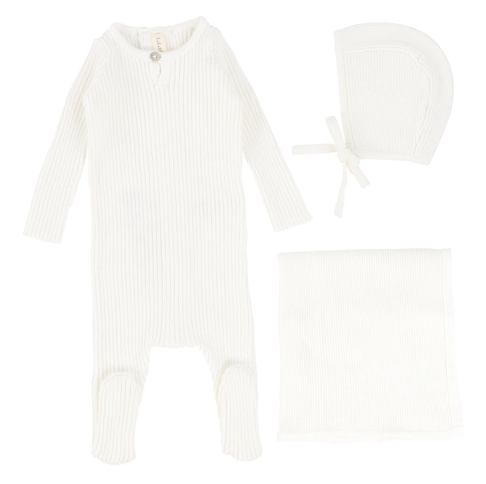 Lilette by Lil Legs White Knit Layette Set