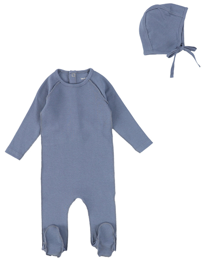 BEE AND DEE MIST BLUE CLASSIC RIBBED STRETCHIE AND BONNET