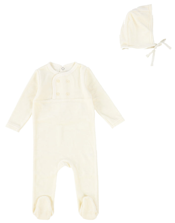 BEE AND DEE IVORY VELOUR MIMA COLLECTION STRETCHIE AND BONNET