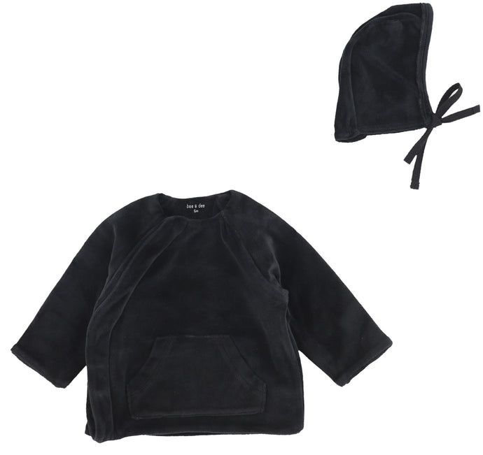 BEE AND DEE BLACK VELOUR JACKET SET