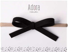 Load image into Gallery viewer, ADORA BABY BLACK LEATHER BOW HEADBAND-BABY/TODDLER