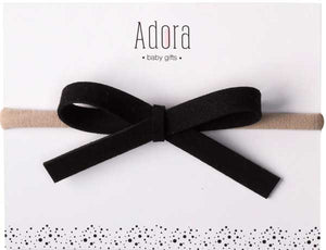 ADORA BABY BLACK LEATHER BOW HEADBAND-BABY/TODDLER