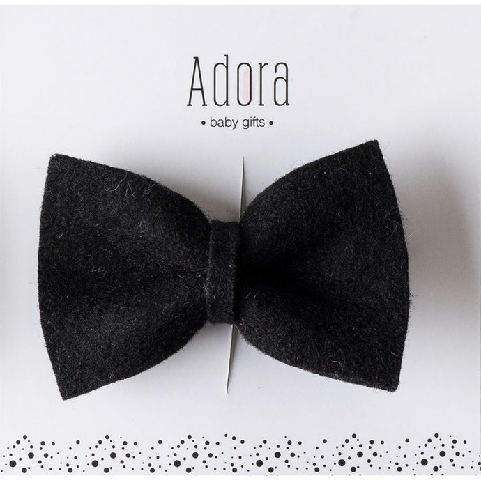 Adora Baby Wool Bow Clip- Black
