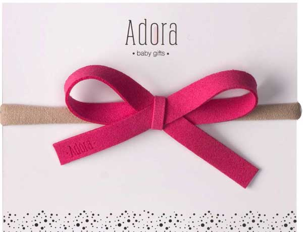 ADORA BABY HOT PINK LEATHER BOW HEADBAND-BABY/TODDLER