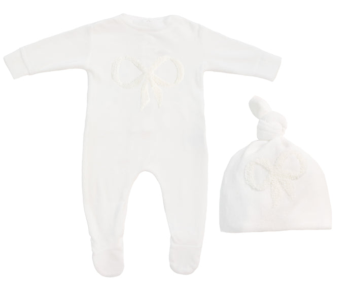 NOGGI IVORY FUZZY BOW VELOUR STRETCHIE AND HAT