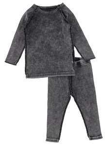 LIL LEGS BLACK WASH RIBBED BABY SET