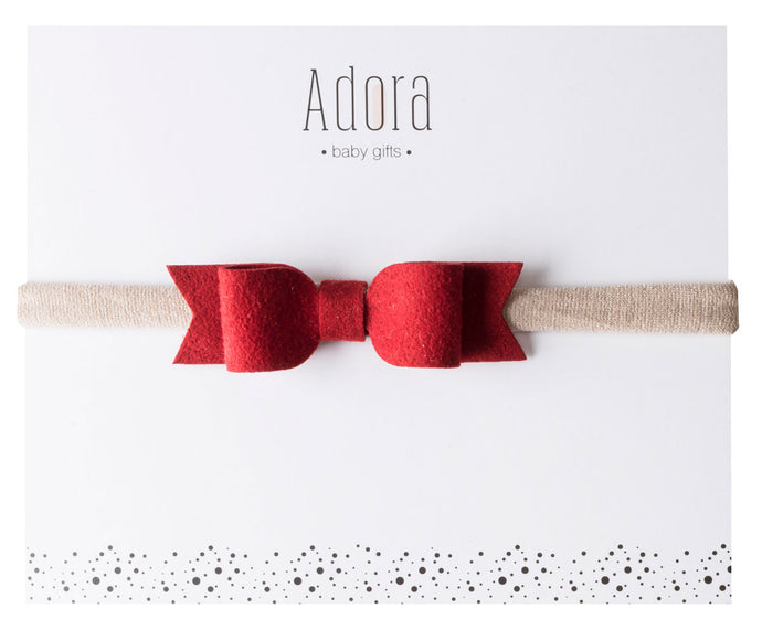 Adora Baby Mini Suede Headbands- Red