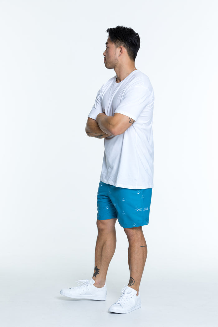 Teal signature swim shorts for men