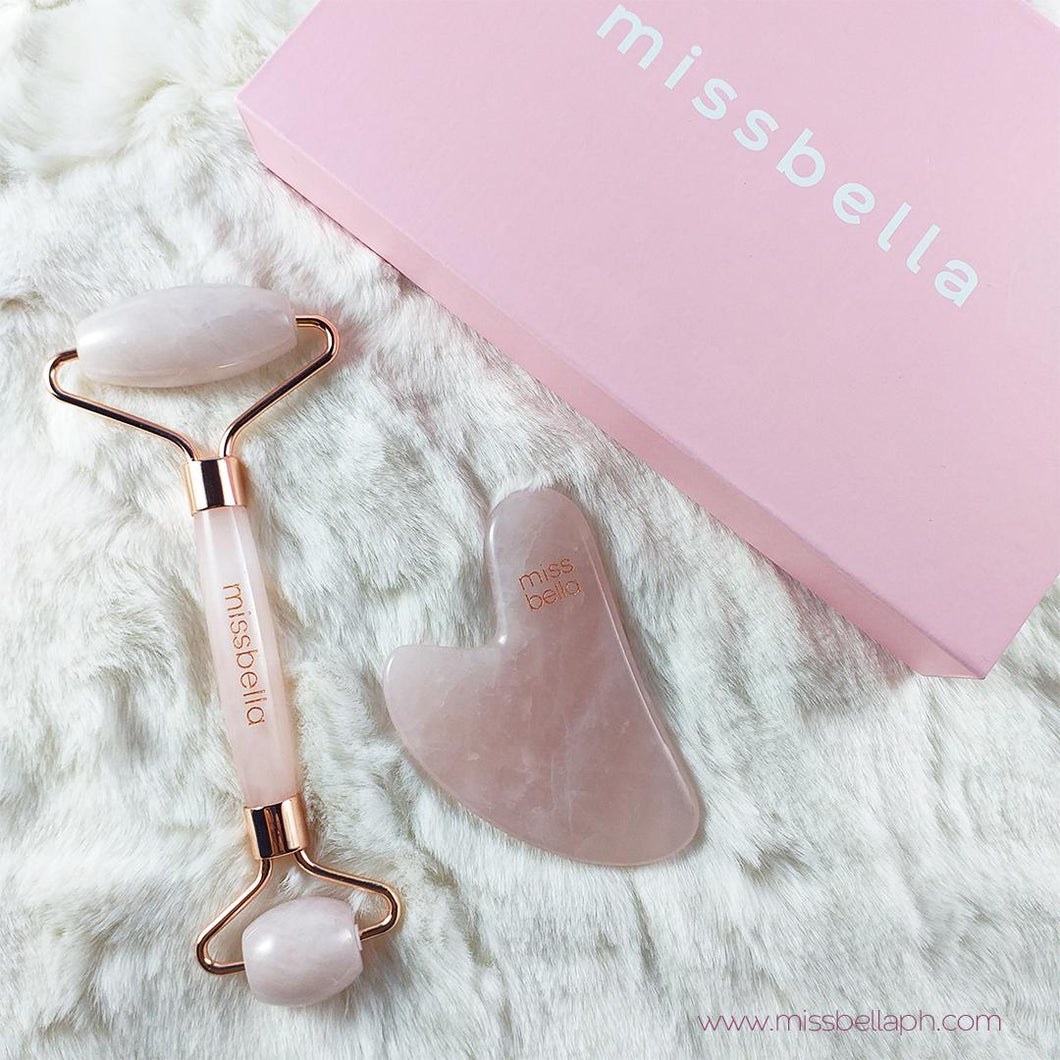 Rose Quartz Roller Set with Gua Sha