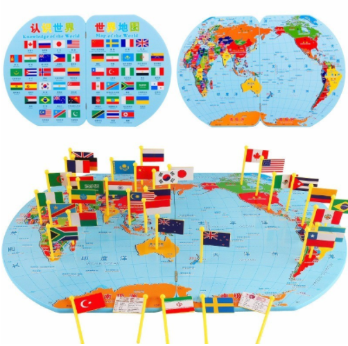 The original 3d wooden world map toy national flag design the original 3d wooden world map toy national flag design educational flag items gumiabroncs Image collections