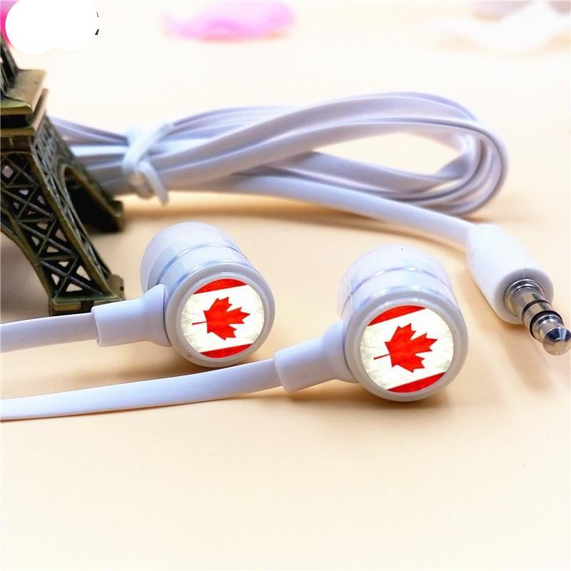 bb585690653 Canada National Flag In-ear Earphones 3.5mm Stereo Earbuds Phone Music Game  Headsets for