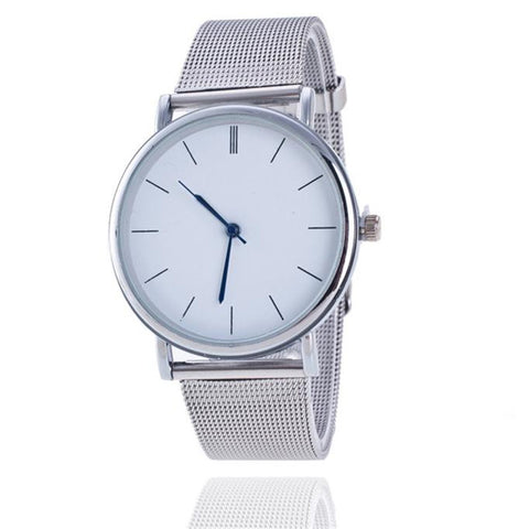Women watches Luxury Fashion dress Women Ladies Silver Stainless Steel Mesh Band Wrist Watch Relogio Masculino Wholesale - FainWatch