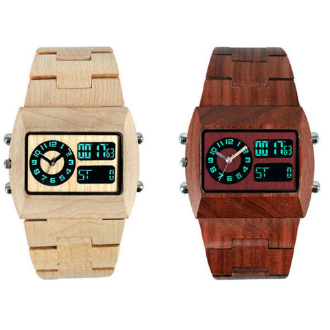 Natural Wooden Watches For Unisex LED Show Wristwatches Fashion Digital Analog Original Wood Watch Men Women Lover Luxury Brand - FainWatch