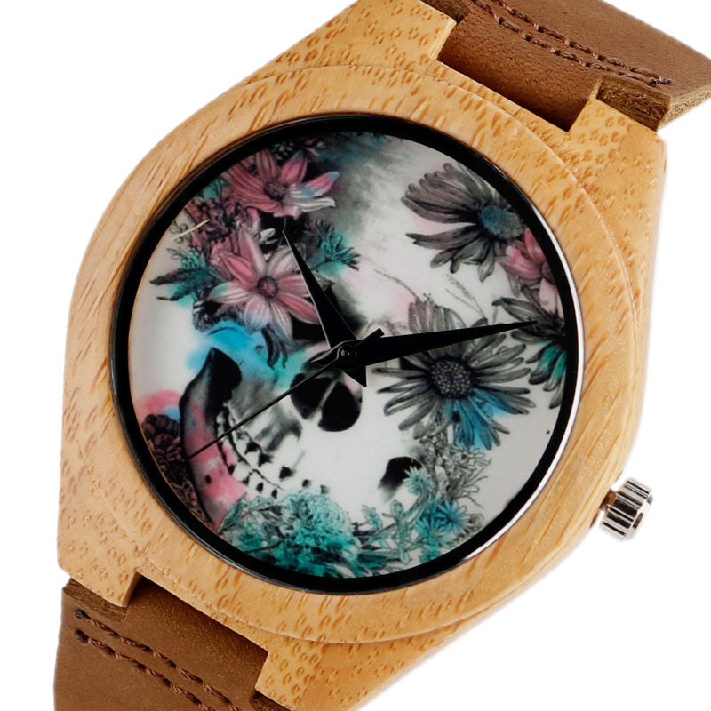 Women Watches Bracelet Bamboo Watch Ladies Cool Design Flower Skull Wooden Handmade Real Leather Band Casual Nature Wood Clock - FainWatch