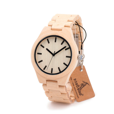 2017 BOBO BIRD Maple Wooden Strap Watches Men Brand Luxury Fashion Wood Quartz Watch Clock Relojes Mujer Montre C-G30 - FainWatch