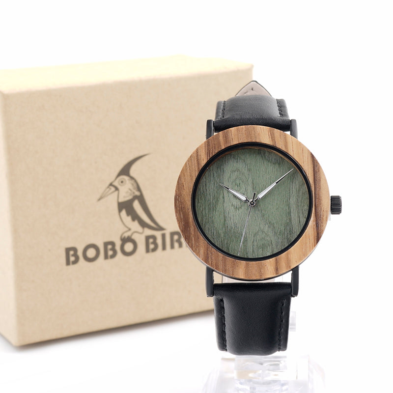 2017 Luxury BOBO BIRD Women Watches Zebra Wood Watch with Genuine Leather Strap Wrist Watch as Gifts relogio feminino C-E23 - FainWatch