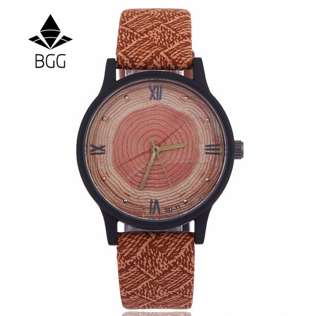 New Wood Women Watches Retro 2016 Casual BGG Brand Vintage Leather Quartz Clock Woman Fashion Simple Face Wooden dress Watch - FainWatch